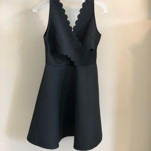 Nordstrom Rack Black Scalloped Dress